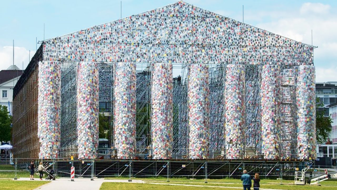 Over 100,000 Banned Books used to create full sized Parthenon